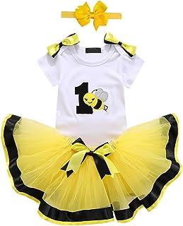 4ddf98fd933 Baby Girls 1st Birthday Cake Smash 3pcs Outfits Set Cotton Romper  Bodysuit+Tutu Dress+