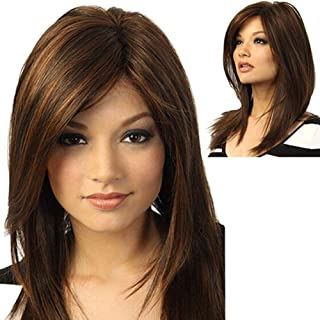 Medium Length Wigs for Women Human Hair Wigs Mixed Real Human Hair - Stylish Vitality Lady Inclined Bangs Party Straight S...