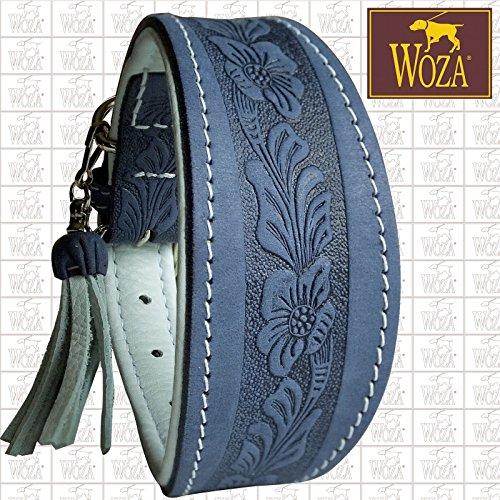 Woza Premium WINDHUND Halsband 6,3/42CM Flowers Vollleder SATTLERNAHT RINDNAPPA Handmade Greyhound Collar