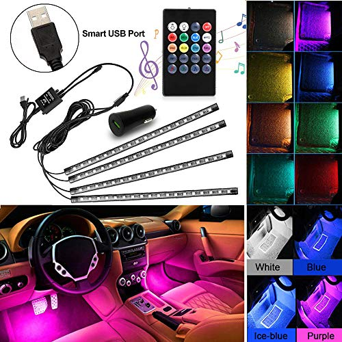 XBRN Car LED Strip Lights,4pcs 72 LED Multicolor Music Car Interior Atmosphere Lights Under Dash Lighting Kit with Sound Active Function and Wireless Remote Control (72)
