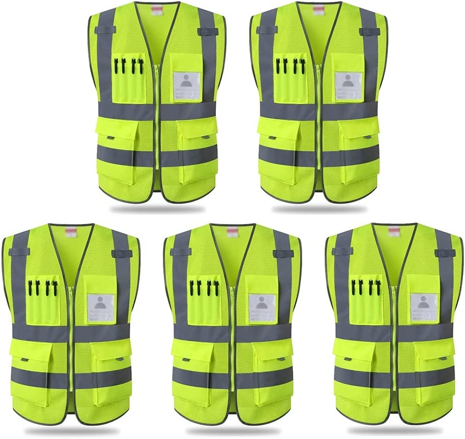 Zipper Reflective Vest New item Multifunctional High Visibility Popular products Pockets S