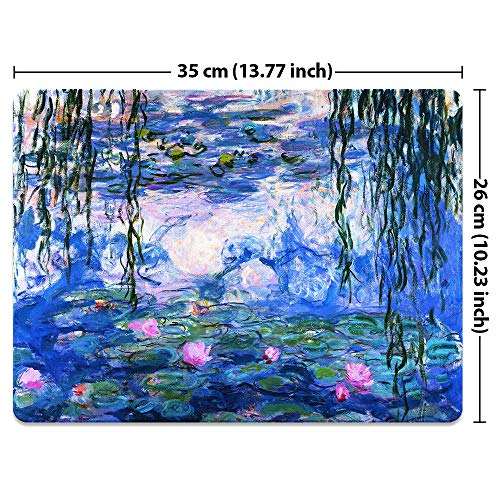 Extra Large (X-Large) Size Non-Slip Rectangle Mousepad, FINCIBO Claude Monet Water Lilies Mouse Pad for Home, Office and Gaming Desk Photo #5