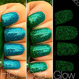 Mermaid Blue to Green Color Changing AND Glow in the Dark Nail Polish - Glows Green