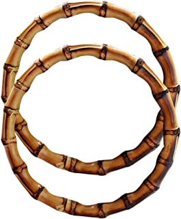 Exttlliy 2PCS Bamboo Handmade Handbag Handles Natural Crafting Purse Handbag Handles Rings (5.12inch, Burnt)