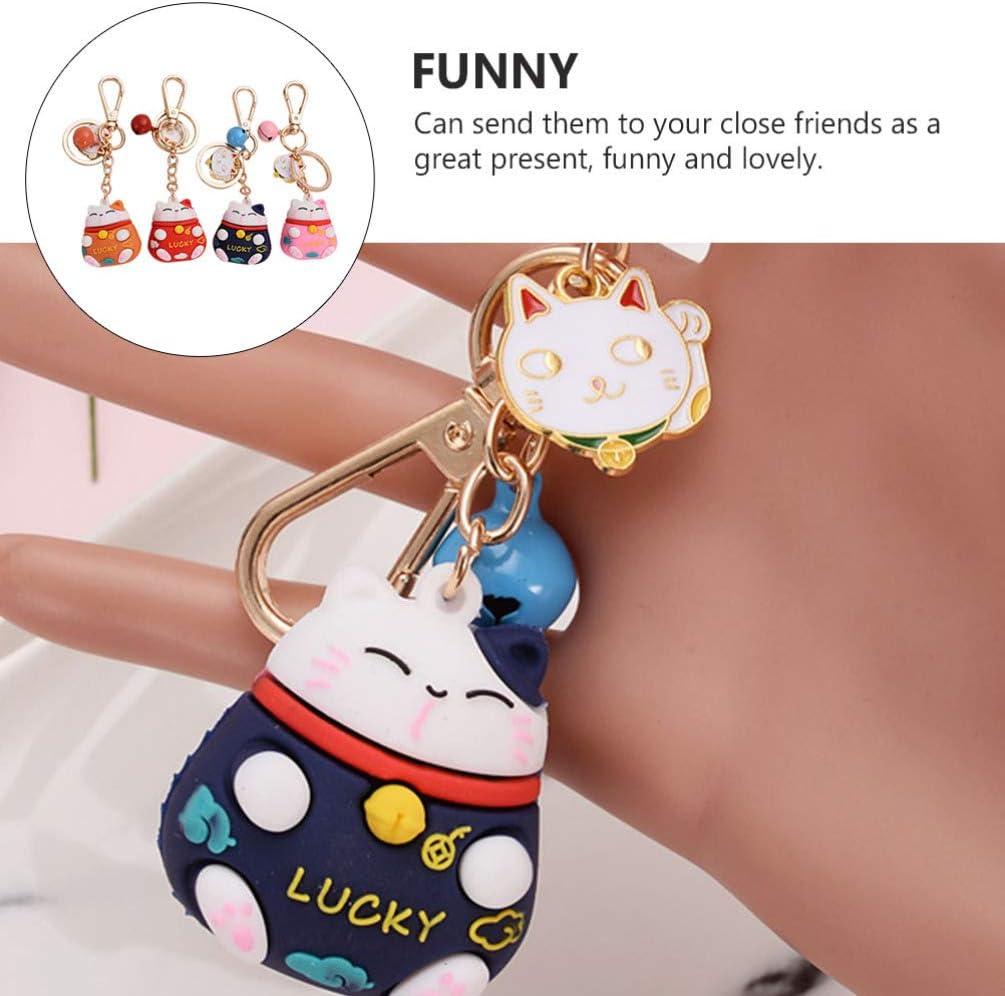 Amosfun Lucky Beckoning Cat Keychain with Bells Pendants 4Pc- Fortune Lucky Maneki Beckoning Neko Keyring for Handbag Backpack Phone Purse Funny Gifts