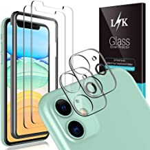 L K [2 Pack] iPhone 11 Camera Lens Screen Protector + [2 Pack] Tempered-Glass Screen Protector Film Anti-Scratch,Anti-Fingerprint for iPhone 11, 6.1-inch