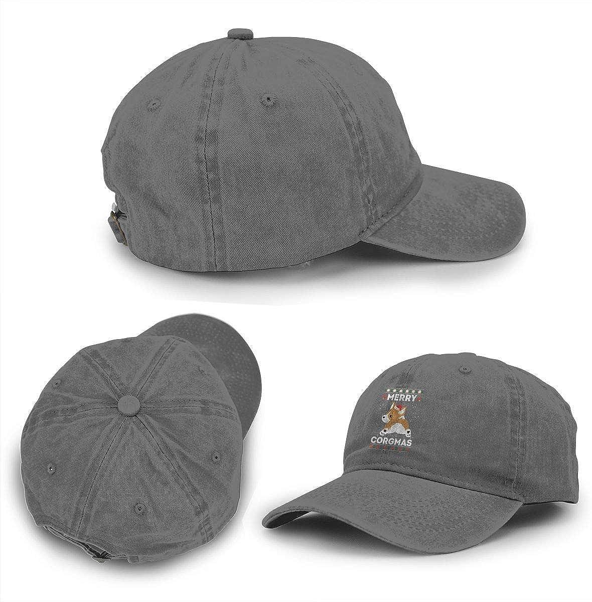 Cowboy Baseball Caps Denim Hats for Men Women Merry Corgmas Corgi Dog
