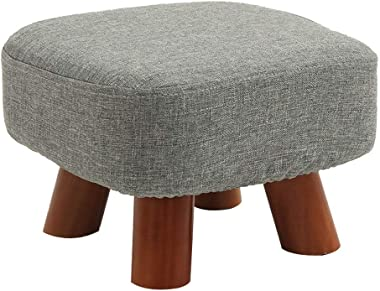 Ottomans Small Stool Home Solid Wood Shoes Bench Stool Stool Fashion Creative Shoes Bench Fabric Sofa Bench Children Bench (Gray) DELICATEWNN (Size : 2818cm)