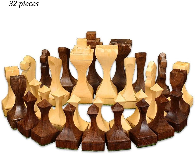 LH's stores Schach Creative Wood Chess Kids Intellektuelle Entwicklung Lernspielzeug Schachfiguren aus beige und braunem Holz Dame Schach Schachspiel (Farbe   Beige+braun)