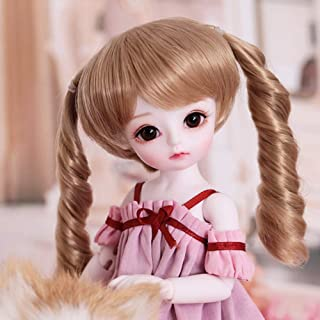 BJD Doll, 10 Inch 1/6 Black Eyes with BJD Clothes Wigs Shoes Makeup 100% Handmade Beauty Toys Fashion Doll Surprise Gift,B