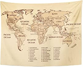 Tarolo Decor Wall Tapestry World Political Map All Official Countries on Year Vintage Nautical Grungy Recommended Size for from A3 80 x 60 Inches Wall Hanging Picnic for Bedroom Living Room Dorm
