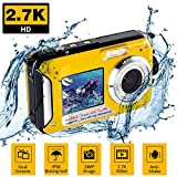 Underwater Camera for Snorkeling, Waterproof 2.7K 48MP Digital Camera, HD Rechargeable Camera with Dual Screen for Camping, Underwater, Swiming, Underwater Camera (Yellow)