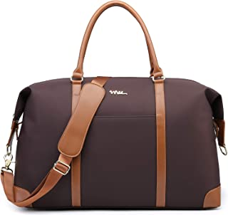 NNEE Large Oversized Water Resistance Nylon Travel Tote Bag/Overnight Weekend Duffle Shoulder Bag with Trolley Strap Design - Brown