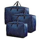 SANBLOGAN Bolsa de almacenamiento multiusos, 3 unidades, plegable, para mudanzas, ropa de cama, bolsa de viaje, con asa reforzada para edredones, almohadas, ropa, mantas, etc.