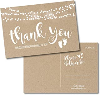 25 Girl or Boy Rustic Baby Shower Thank You Note Card Bulk Set, Blank Cute Kraft Gender Reveal Neutral Sprinkle Postcards, No Envelope Needed For Party Gift Personalize Printable Cardstock Paper