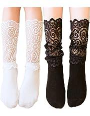 [インソミラ] InSomila ベビー キッズ 靴下 ハイソックス クルーソックス 女の子 フォーマル レース付き 2足セット 黒白