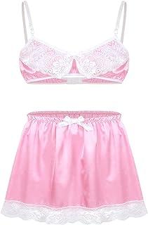 JEATHA Mens 2 Pieces Sissy Pajamas Set Firlly Satin Bra Top with Lace Hem Mini Skirts Crossdress Nightwear