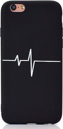 4164c674435 CUAgain Funda Compatible con iPhone 6s Plus/iPhone 6 Plus Silicona Dibujos  Motivo Negro Kawaii