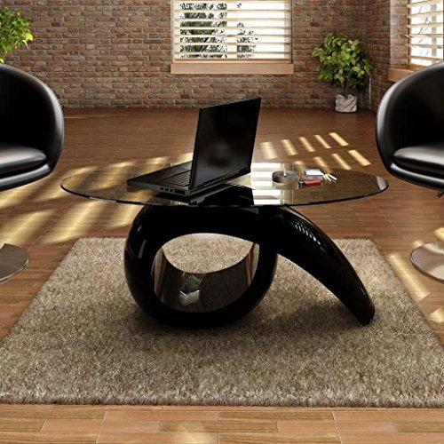 Lingjiushopping salontafel in glanzend zwart met tafelblad van gehard glas. Materiaal: glasvezelversterkte kunststof + gehard glas. Afmetingen van het ovale tafelblad van gehard glas: 115 x 64 cm (l x b).