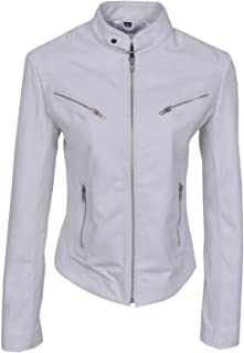 Smart Range Speed' Ladies White Cool Retro Biker Style Fitted Motorcycle Leather Jacket