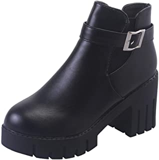 Zapatos de mujer Botines Zapatos de mujer tacones altos Mujer Ankle Zapatos Botas falsas para mujer Hebilla del cinturón Plataforma Talón cuadrado Negro Casual Zapatos LMMVP