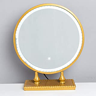 Lighted LED Makeup Mirror, Large Tabletop Round Vanity Mirror with Golden Wrought Iron Bracket Dressing Mirror, Touch Cont...