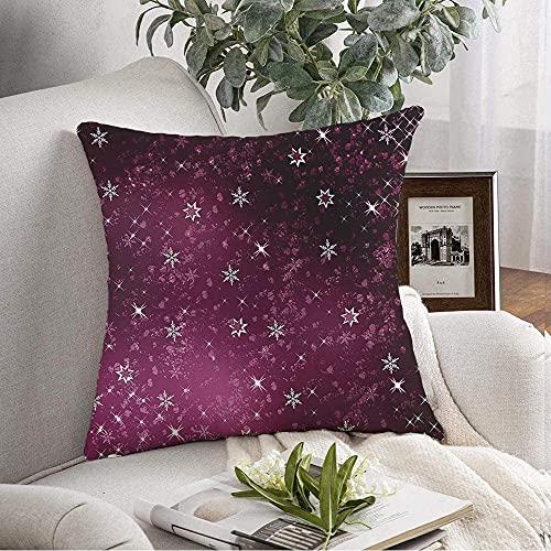 Fundas de almohada Funda Cozy Pink Sky Star adornado con estrellas púrpuras abstractas Noche de temporada Celebración de cumpleaños rojo Navidad Color Throw Pillow Cojín para sofá Decoración d