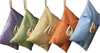 Xshelley 5 Pack*100g Natuurlijke Luchtzuiverende Bamboe Houtskool Tas voor Thuis Koelkast, Vriezers, kasten, Auto en Schoe...