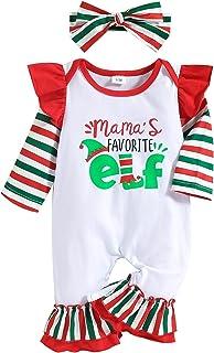 Dziecięce dziewczęce chłopcy świąteczne stroje maluch dzieci list nadruk noworodka śpioszki kombinezon piżama ubrania, cze...