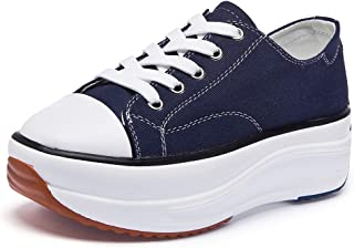 Sokaly Women's Canvas Low Top Sneaker Lace-up Casual Walking Shoes Platform Pump Fashion Comfortable Tennis Sneakers
