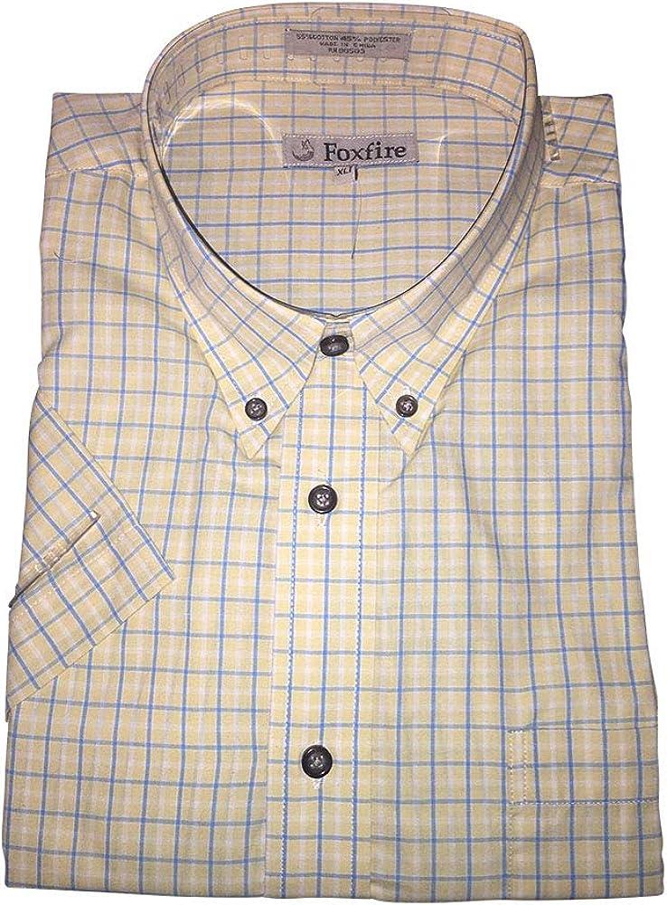 FOXFIRE Big and Tall Yellow Blue Plaid Button Down Short Sleeve Shirts