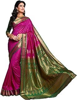 a135abb9cd Craftsvilla Silk Saree with Blouse Piece (Sania Jacd_Pink_Pink_Free Size)