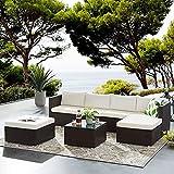 Tribesigns Conjunto de Muebles de Jardín 7 Piezas Ratán, con 2 Sillones, 2 Escabel, 1 Mesa de Vidrio, con Cojines, para Jardín, Terraza y Balcón (Marrón/Beige)