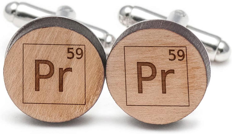 Praseodymium Cufflinks, Wood Cufflinks Hand Made in the USA