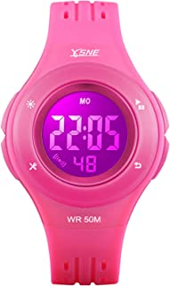 Girls Watch Kids Digital Sports 7-Color Flashing Light Water Resistant 100FT Alarm for Girls Age 7-10 1455P