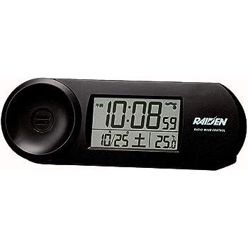 セイコークロック 置き時計 01:黒 本体サイズ:5.1x14.4x4.2cm 電波 デジタル 大音量 PYXIS ピクシス RAIDEN BC407K