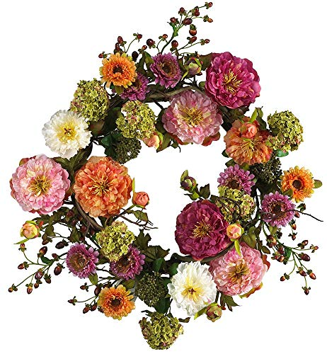 Nearly Natural 24in. Peony Wreath 24 inches round Mixed (Renewed)