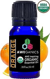 Aweganics Pure Orange Oil USDA Organic Essential Oils, 100% Pure Natural Premium Therapeutic Grade, Best Aromatherapy Scented-Oils for Diffuser, Home, Office, Women, Men - 10 ML - MSRP $14.99