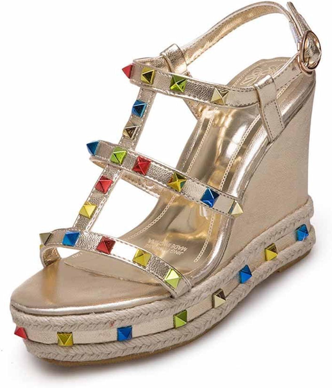 Women Open Toe Wedge Sandals 2018 Summer New Buckle Rivet Super High Heel Platform shoes Size 33-43
