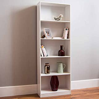 Vida Designs Cambridge 5 Tier Extra Large Bookcase, White Wooden Shelving Display Storage Unit Office Living Room Furniture