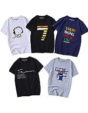 Hisitosa Tシャツ 半袖 服 メンズ 夏 5点セット カジュアル カットソー ファッション 丸襟 柔らかい 快適