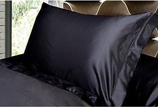 Magideal 2x Silky Soft Satin Standard Pillow Cushion Cover Pillowcase Bed Decor-Black