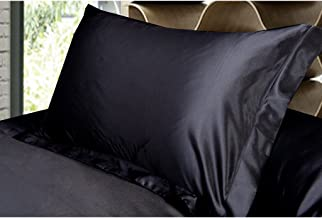 Magideal 2x Silky Soft Satin Standard Pillow Cushion Cover Pillowcase Bed Decor-Black