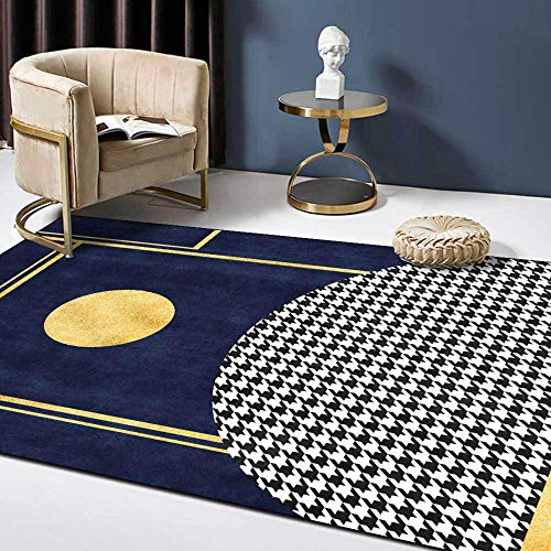 Rug Navy Blue Modern Design Soft Touch,for Living Room Bedroom Kitchen Cloakroom Bedside Chair Kids Room Washable Carpet-60 * 90CM