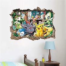 S 50X70cm Efecto 3D de dibujos animados Pikachu rojo elfos mascotas a trav/és de pegatinas de pared para habitaciones de ni/ños diy arte de la pared calcoman/ías decoraci/ón Pokemon Go carteles del juego