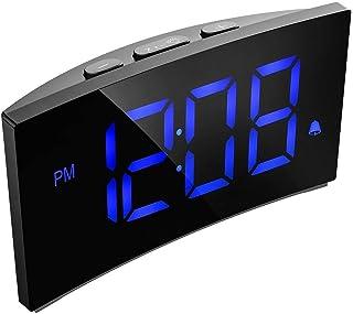 "PICTEK Digital Alarm Clock, 5"" Curved Dimmable LED Screen Digital Clock for Kids Bedroom, Blue Large Number Clock, 6 Brightness, Snooze, 12/24 Hour, USB Port (Without Adapter)"