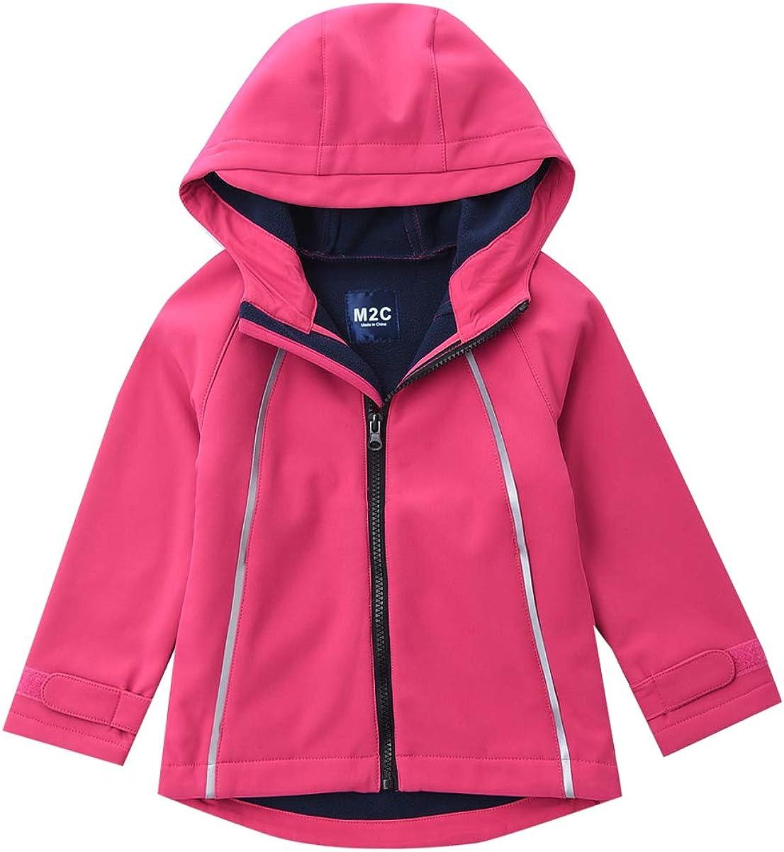 M2C Girls Hooded Fleece Lined Windproof Softshell Windbreaker Jacket