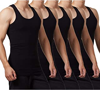 FALARY Mens Vest Tops Pack of 5 Tank Tops Fitted 100% Cotton