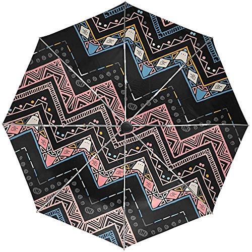 Automatische paraplu's Etnische Aztec Zig Zag Patroon Anti-Slip Winddicht Compact Regen Paraplu voor Vrouwen Mannen