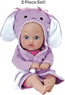 """Adora BathTime Baby Tot """"Bunny"""" Small 8.5 Inch Washable Bathtub Water Safe Soft Body Vinyl Fun Play Toy Doll for Boy or Girl Children and Toddlers 1 Year Old and up"""